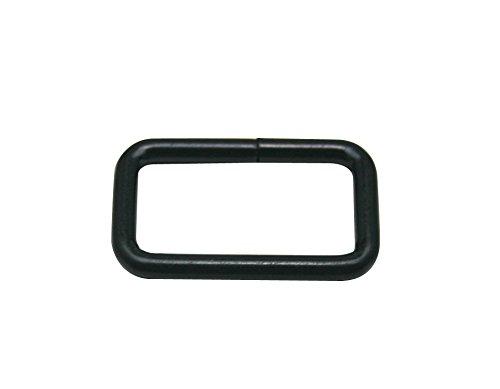 Generic Rectangle Noir Boucle en métal 2,5 x 1,3 cm à l'intérieur Dimension pour sangle Keeper Lot de 25