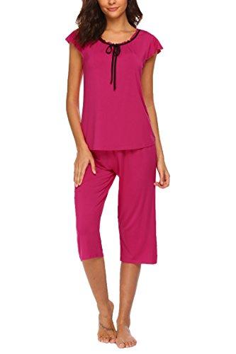 UNIbelle Damen Schlafanzug Bow Nachtwäsche mit Ruffle Sleeve Shirt und 3/4 Ärmel Hosen Rosa Rot S (Schlafanzug 3/4 Ärmel)