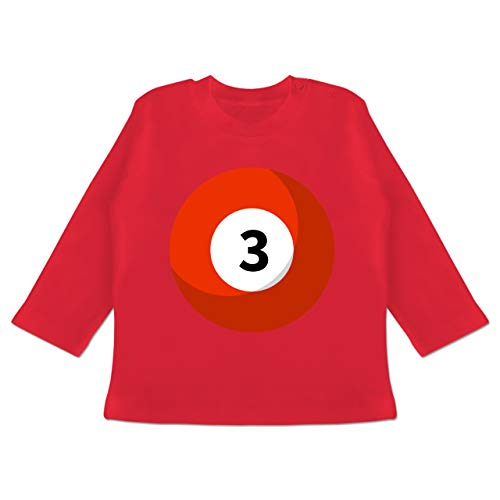 (Karneval und Fasching Baby - Billardkugel 3 Kostüm - 18-24 Monate - Rot - BZ11 - Baby T-Shirt Langarm)