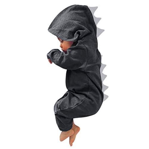 en Jungen Mädchen Kleidung, Evansamp Nette Dinosaurier Baby Anzug Mit Kapuze Overall Outfits Kleidung(Grau3,3M) ()