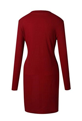 Aoliait Femmes Casual Blouse Col Rond Chemisier Manche longue Tricoter Shirt Chic Tops Loose University Knitted Pull Ourlet Irrégulier Couleur Unie Pullover Red