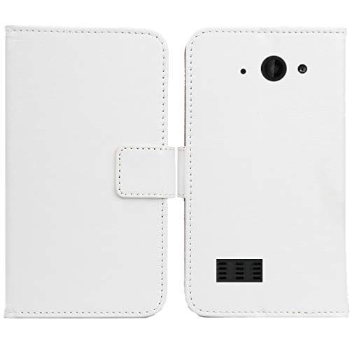 Gukas PU Leder Tasche Hülle Für Archos Saphir 50X 5 Handy Flip Design Brieftasche mit Karten Slots Schutz Protektiv Case Cover Etui Skin (Farbe: Weiss)