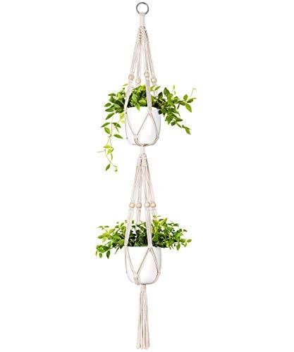 Mkouo Makramee Pflanzenaufhänger 2 Tier Drinnen draußen Hängender Pflanzerkorb Baumwollseil mit Perlen, 125cm