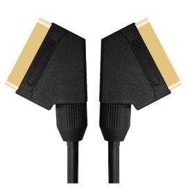 5m Scart-Kabel-Superior-Qualität führen (Scart über Coax für eine bessere Bildqualität) / 24k gold / komplett verdrahtet / geschirmt / 21-pin / Audio / Video / Stecker-Stecker