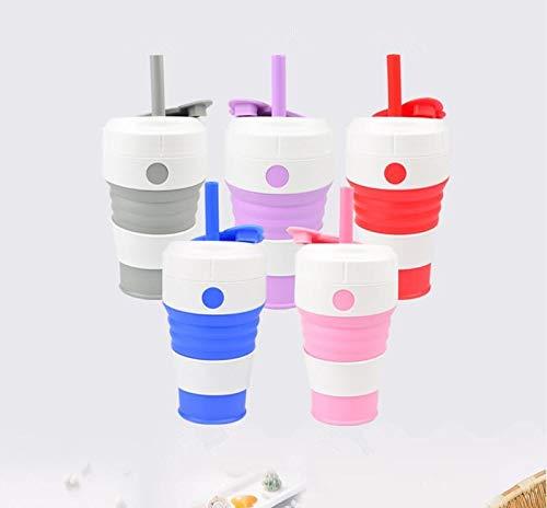 Outdoor Sport Folding Silikon Wasserschale Tragbare Teleskop Trink Faltbare Kaffee Tee Tasse (Capacity : 450ML, Color : Rot) (Tee-und Wasserkocher Ruhigen)