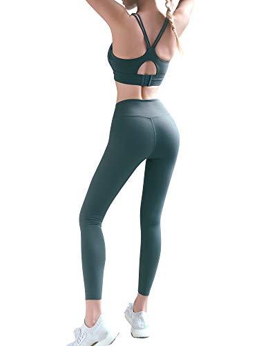 Damen Sport-BH Anti-Schock U-Neck Verstellbare Intensität Fitness Lauf BH Stark Halt, Dunkelgrün S - 7