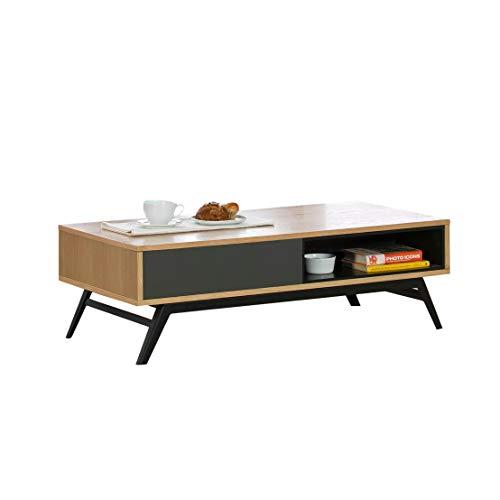DLM Design Table Basse en Bois avec 1 tiroir et 1 Niche Longueur 120 cm Kaylan