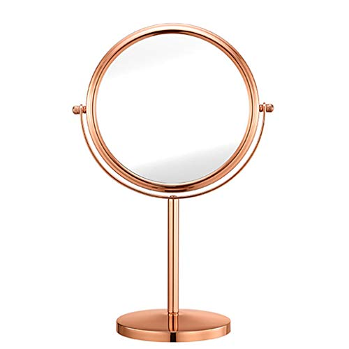WUDHAO Pared Espejos de Bano Spot Retro Mesa Espejo Oro Rosa Maquillaje Espejo HD Doble Cara Espejo...