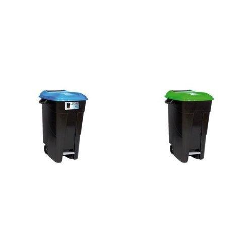 Tayg - Contenedor residuos con peda, 120 l, azul + Contenedor de residuos Eco 120 l. VE. C/ pedal