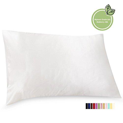 ElleSilk Weiß Kopfkissenbezug 100% reine Seide für Gesichtsschönheit, 22 Momme, Anti Aging, 50 x 90cm, 1 Stück (Luxus-king-kissenbezug)