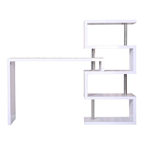 Homcom Modern High Gloss Bar Counter Beverage Table Storage Display Wooden Shelf Shelving Room Divider (White)