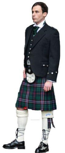 Mens Highland Traditional 8 yard with 24 inch drop Kilt Tartan Dark Green