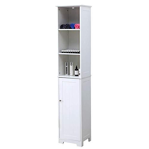 Etnicart - Mobile bagno a colonna ingresso e soggiorno 6 ripiani e sportello in legno MDF 37 X 30 X 180 cm. Bianco-Prodotto di QUALITA'