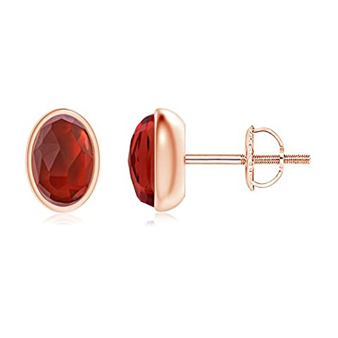 Bezel Set Oval Garnet Solitaire Stud Earrings in 14K Rose