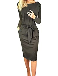 Ajpguot Damen Freizeit Kleid mit Gürtel Elegant Rundhals Midi Kleider Blusenkleider Ballkleid Festkleid Frauen Langarm Tasche Wickelkleider Abendkleider Partykleid