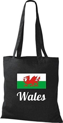ShirtInStyle Stoffbeutel Baumwolltasche Länderjute Wales Farbe Pink schwarz