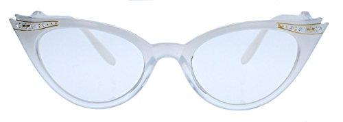 50er Jahre Fashion Brille im Vintage Look Brillengestell Nerdbrille mit Strass Applikation Klarglas Glitzersteine KK37 (Candy Milk Ombre)