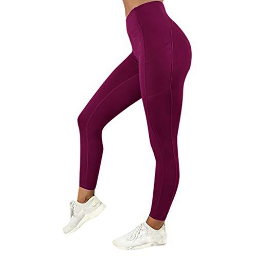 (Ansenesna Damen Farbe Bedruckt Leggins Sporthose Blickdichte Bunt Koper Yoga Pants Sport Hohe Taille Leggins Hose 3D (S, Weinrot))