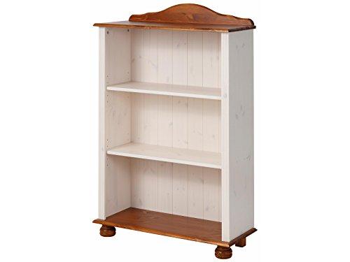 JASMIN Bücherregal Regal Standregal Wohnzimmer Möbel Landhausstil Kiefer massiv, 77 x 30 x 116 cm, weiß & honig