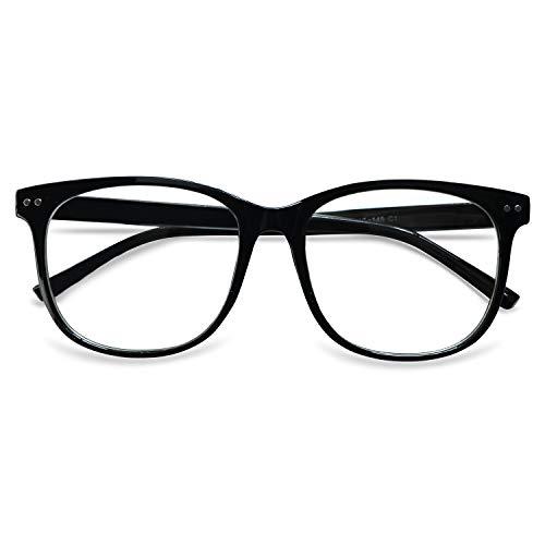 KOOSUFA Klassische Retro Nerdbrille Herren Damen Federscharniere Brille Ohne Sehstärke Streberbrille Brillengestelle Groß Rund Pantobrille Vintage Brillenfassung mit Etui (Helles Schwarz)