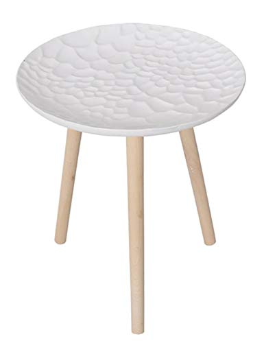 Plateau géométrique Petite Table/Table Basse Simple/Table d'appoint Design, Table Ronde en pin créatif, Blanc Mat, Multi-Taille en Option