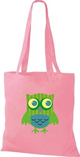 diverse Owl Farbe Jute Bunte rosa Stoffbeutel Tragetasche ShirtInStyle niedliche Eule Retro wEzYdW8q