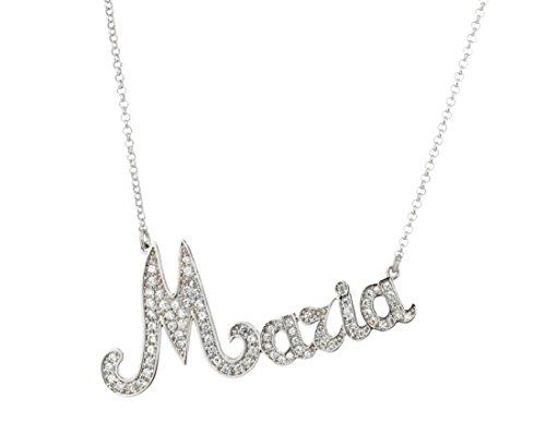 Halskette mit Wunschname in Silber 925% rhodiniert weiß und Pavé-Zirkonia