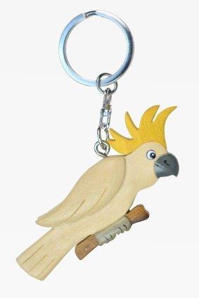 Kakadu weiß Papagei Schlüsselanhänger aus Holz