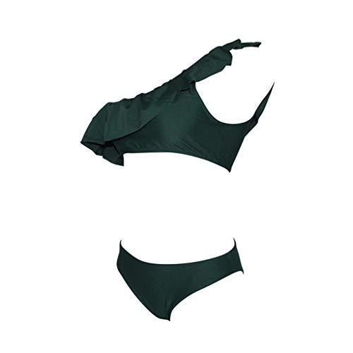 XuxMim Frauen Solide Rüschen Bikini Badeanzug Bikini Badeanzug Sexy Bademode(Grün,X-Large)