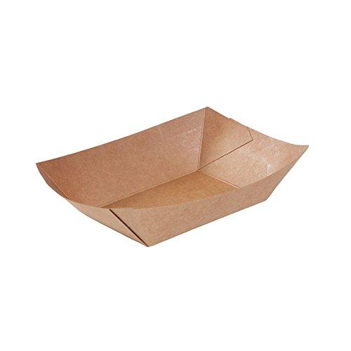 BIOZOYG Kraftkarton Schalen Fingerfood Einweg Schiffchen mit Biobeschichtung I einweggeschirr biologisch abbaubar I Servierschale Dipschälchen I To Go Snackschale 400 ml 1000 Stück