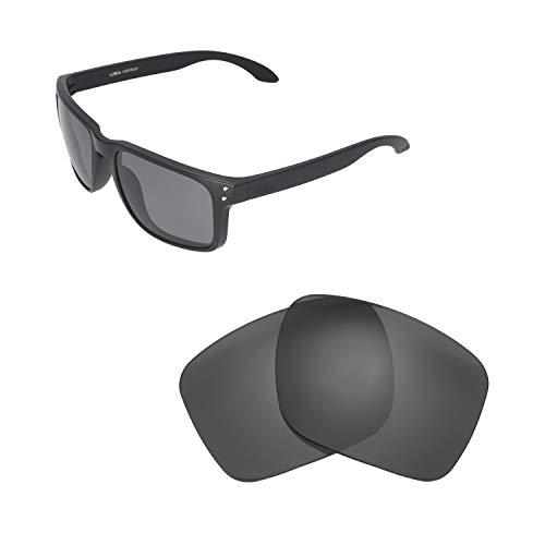 Walleva Ersatzgläser für Oakley Holbrook XL Sonnenbrille - Verschiedene Optionen erhältlich, Unisex-Erwachsene, Black - Polarized, Einheitsgröße