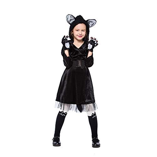YaXuan Disfraces de Halloween Mono para niños Negro Felpa Gato Lindo ...
