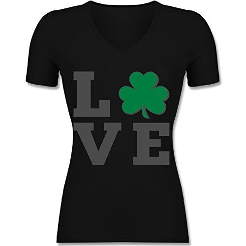 St. Patricks Day - Kleeblatt Love - Tailliertes T-Shirt mit V-Ausschnitt für Frauen Schwarz