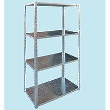 Estantería de acero galvanizado 4pisos 75x 30x H150Brixo cremallera