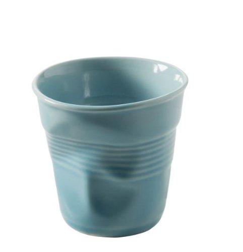 4 Stück Revol Knickbecher Espresso, Espressotasse (ohne Henkel), Espressobecher aus Porzellan, 80ml, Farbe: Karibikblau