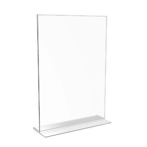 Displaypro Soporte de mesa de acrílico transparente para carteles, menús, unidades (tamaño A4,doble cara)