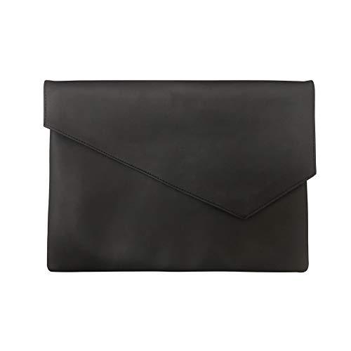 Datei Ordner Tasche Dokument PU Leder A4 Datei Ordner Tasche Dokument Brieftasche Papier Dateien Rekord Tasche Business Handtasche Storiging Organizer Aktentasche (Schwarz) ()