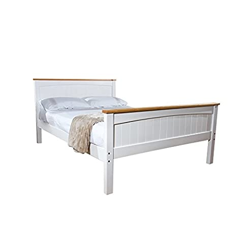 5FT King Solid High End Valisere Wooden Pine Bed Frame in White with Caramel Bar