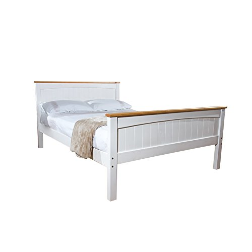 Comfy Living 5FT King Solid High End Valisere Wooden Pine Bed Frame in White with Caramel Bar