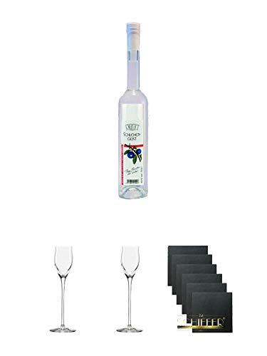 Bauer Schlehengeist 40% 0,5 Liter + Edelbrandglas Stölzle 1 Stück - Quadrophil 231/30 + Edelbrandglas Stölzle 1 Stück - Quadrophil 231/30 + Schiefer Glasuntersetzer eckig 6 x ca. 9,5 cm Durchmesser