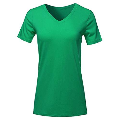�en Hülsen V Ansatz T Shirt Beiläufige Oberseiten Lose Oberseiten Bluse Kurz ()