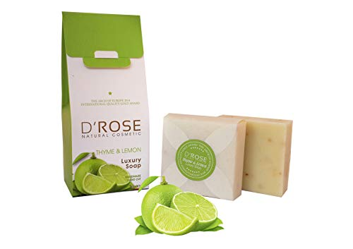 D'Rose Naturkosmetik Handgeschnittener Thymian & Zitronen Luxus Seife (Vitamin C, Nachwachsen des Haares) 2x100gr - Antimikrobielle Seife