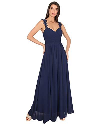 KRISP Damen Bodenlanges Abendkleid aus Chiffon mit Blumenspitze Trägern, Marineblau (2410), 38, 2410-NVY-10 -
