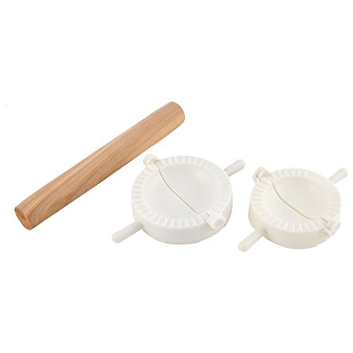 DealMux Holz Rolling Pin Roller Küche DIY Teig-Presse Dumpling Moud Herstellung Form-Werkzeug-Set 3 in 1 (Cookie Rolling Pin Cutter)