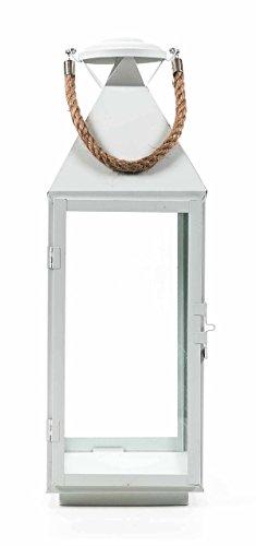 ArtiCasa Metalllaterne, Glaseinsätze, Metallboden, Tür mit Verschluss, Seil-Griff, Design maritim, Größeca. 55/41/24 cm, lieferbar in den Farben Schwarz, Weiß oder Grau (Höhe 55 cm, Weiß) -