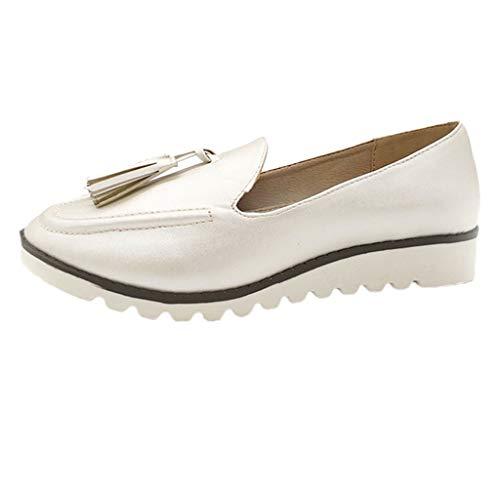 Yvelands Damen Flache Mund-Plattform-Müßiggänger-Erbsen-Boots-Schuhe der Retro Frauen runde Flache(CN-40,Weiß)
