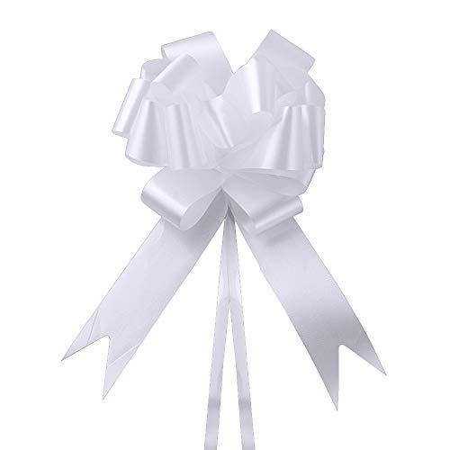 60 Pcs Autoschleife Pull Bögen Pull Bows Ziehschleife Geschenkverpackung Geschenk Riesige Schleife für Autos, Fahrräder, Geburtstag, Hochzeit, Valentinstag, Party, Feier, Weihnachts-Geschenke Weiß