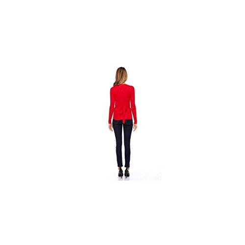 Pull cache-coeur ceinturé Rouge