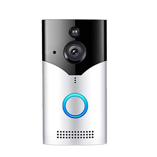 VISGOGO Video Doorbell | Video Türklingel 720p HD-Video, Gegensprechfunktion,Bewegungsmelder und WLAN Weitwinkel kabellose Türklingel Anti-Theft Kamera WLAN IR Nachtsicht (Silber, OneSize)