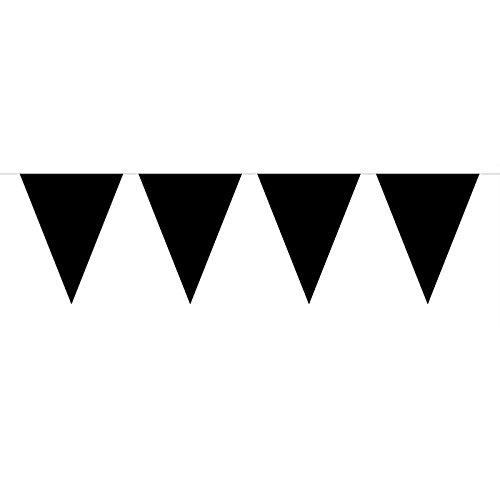 Folat Party Dekoration Wimpelkette 3Meter-Schwarz. (Rot Und Schwarz Jester Kostüm)